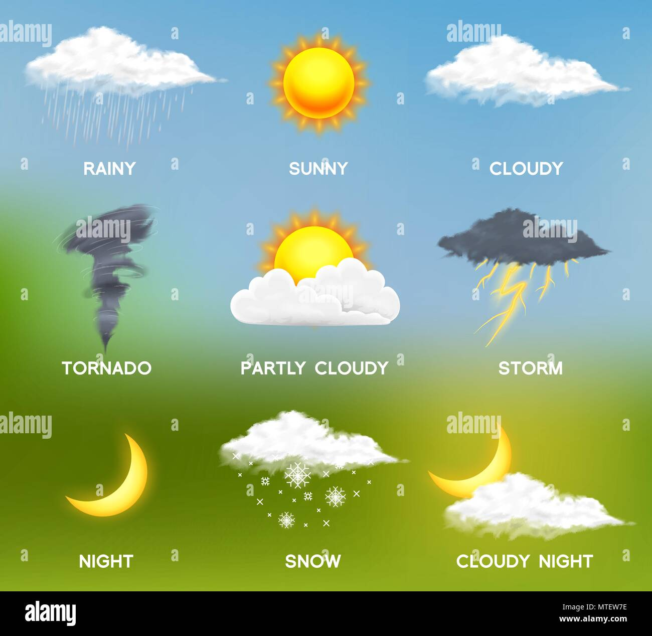 Modern Realistic Weather Icons Set Meteorology Symbols On Colored