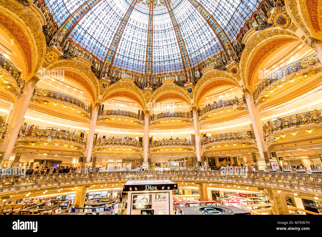 The impressive and beautiful Galleries Lafayette in Paris, France - Stock Image