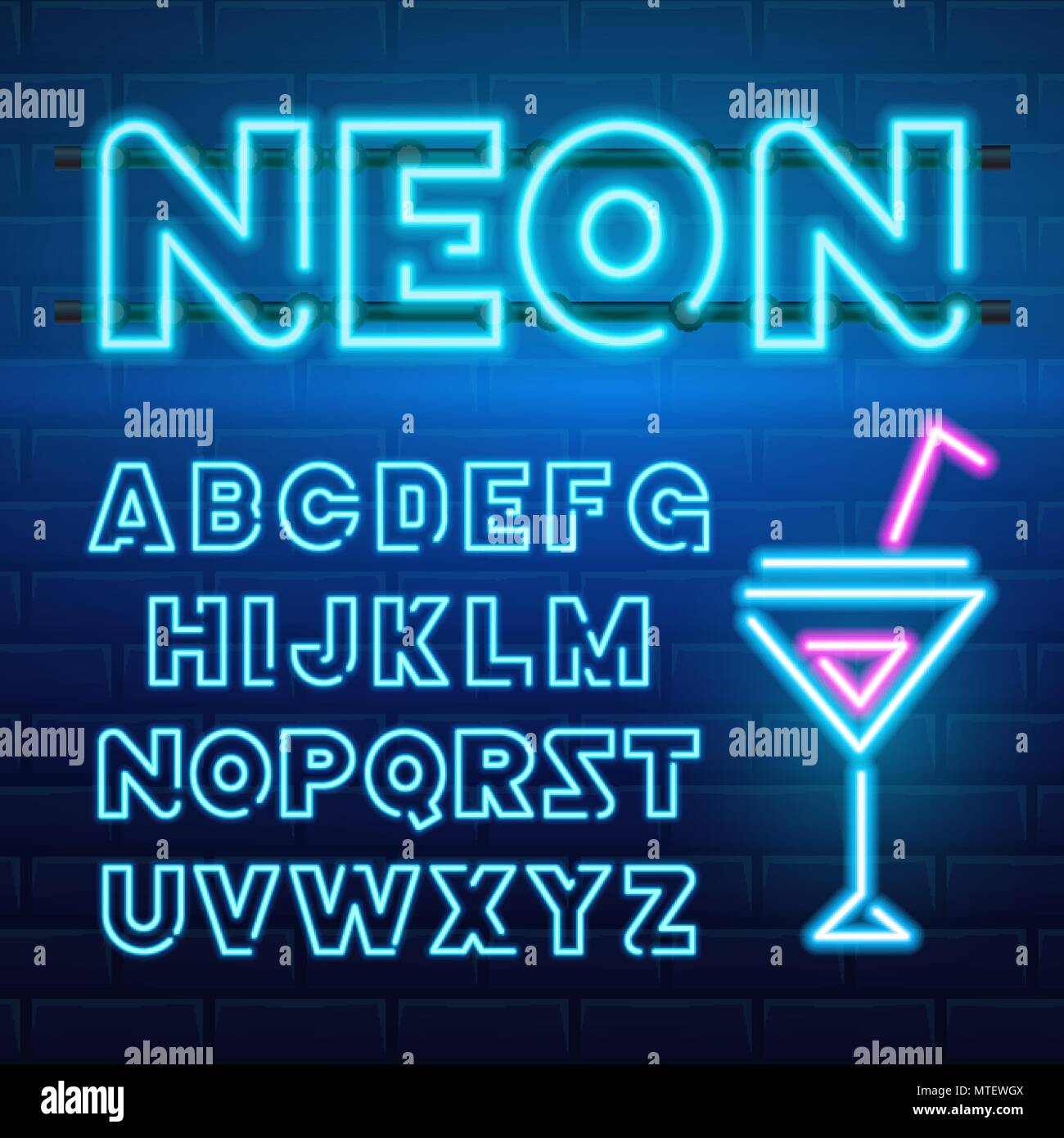 80 s blue neon retro font. Futuristic chrome letters. Bright Alphabet on dark background. Light Symbols Sign for night show in club. concept of galaxy space. Set of types. Outlined version. - Stock Image