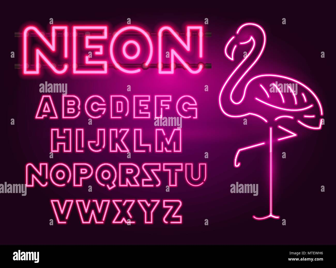 80 s purple neon retro font and flamingo. Futuristic chrome letters. Bright Alphabet on dark background. Light Symbols Sign for night show in club. concept of galaxy space. Outlined version. - Stock Image
