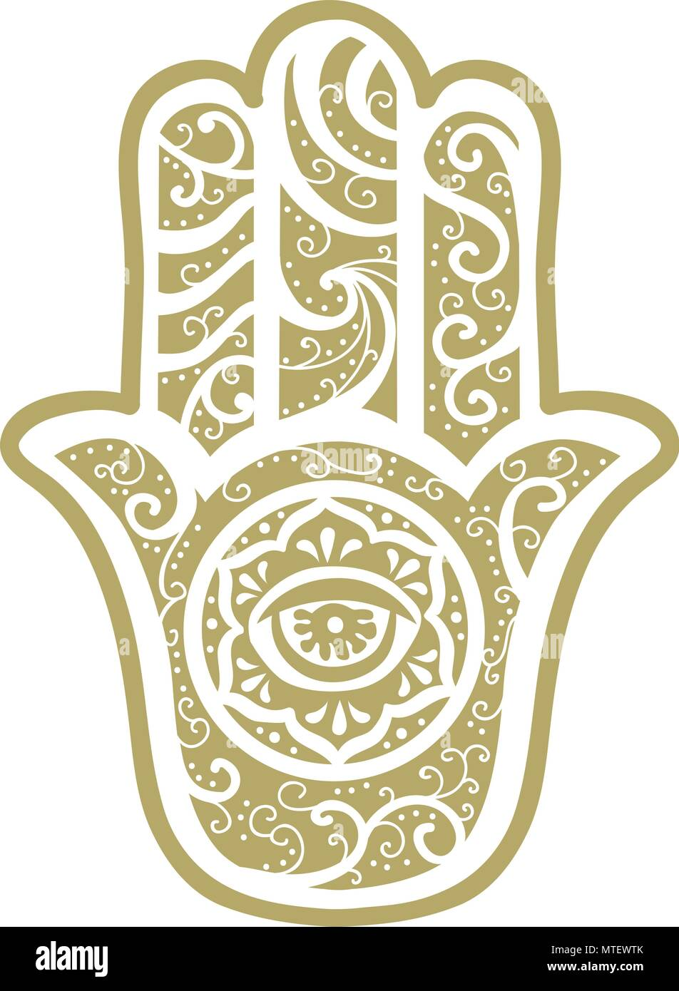 The Hamsa Hand, Ancient Middle Eastern amulet symbolizing the Hand of God. - Stock Vector