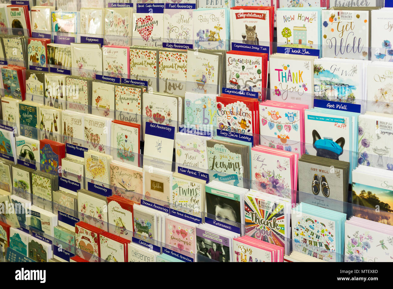 A variety of greeting cards for sale in a shop england united a variety of greeting cards for sale in a shop england united kingdom m4hsunfo