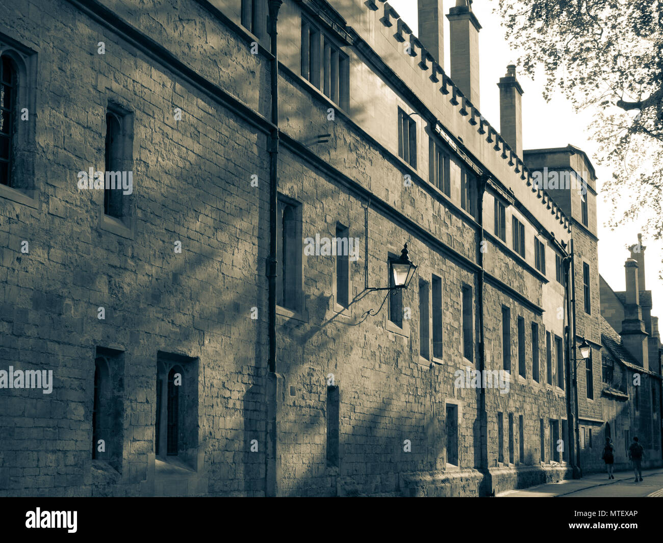 Black and White Image of Brasenose Ln, Oxford University, Oxford, Oxfordshire, England, UK, GB. - Stock Image