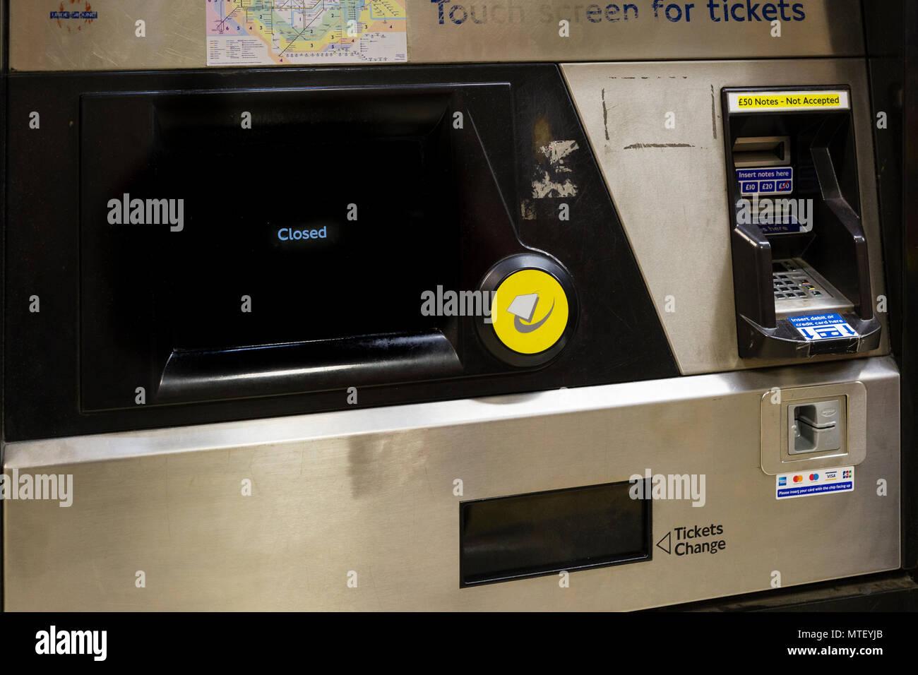 London underground tube Oyster Card machine closed Stock ...