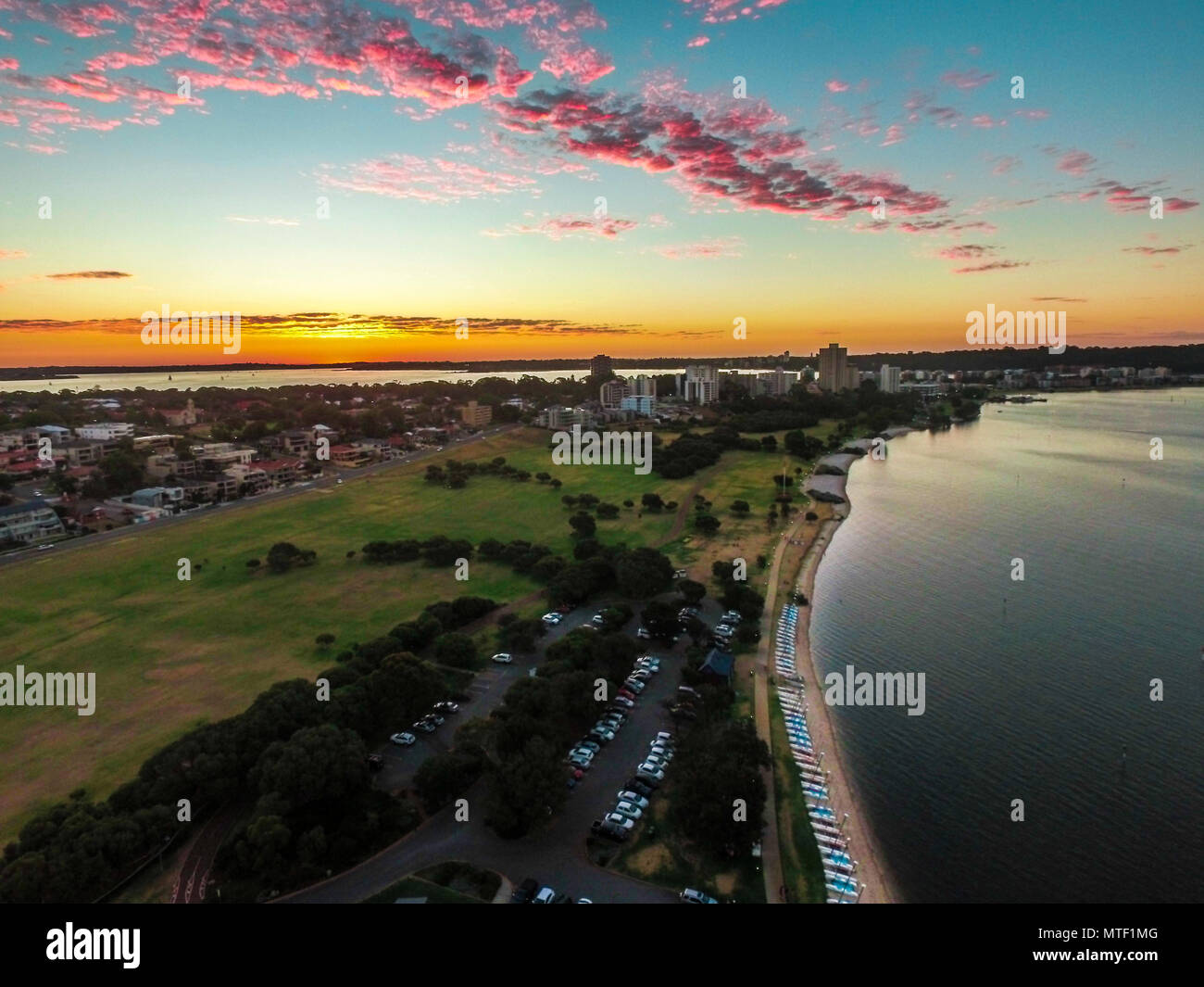 Sunset in Australia captured from a drone - Stock Image