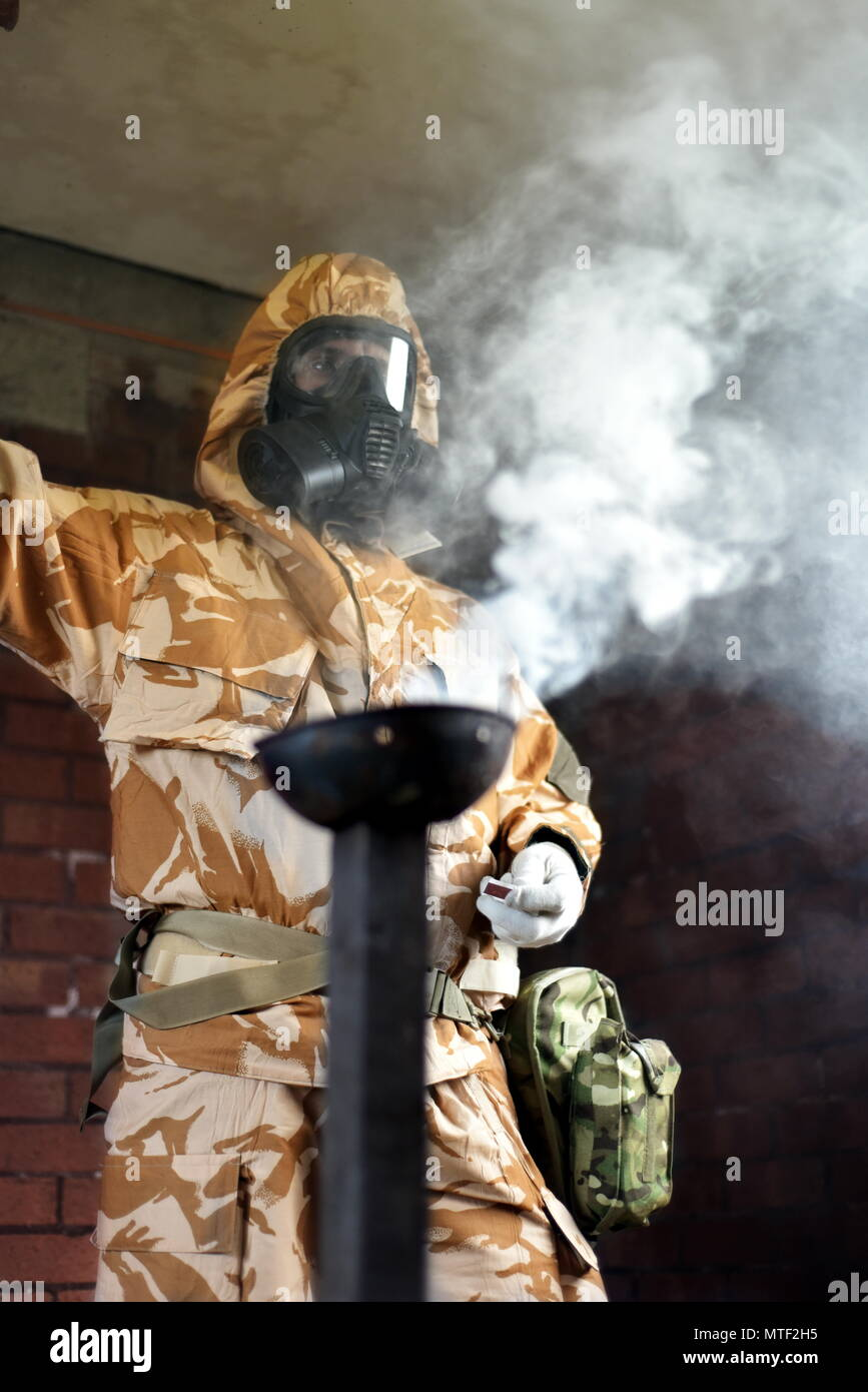 Royal Enineer conducting Chemical Warefare training using CS irritant. - Stock Image