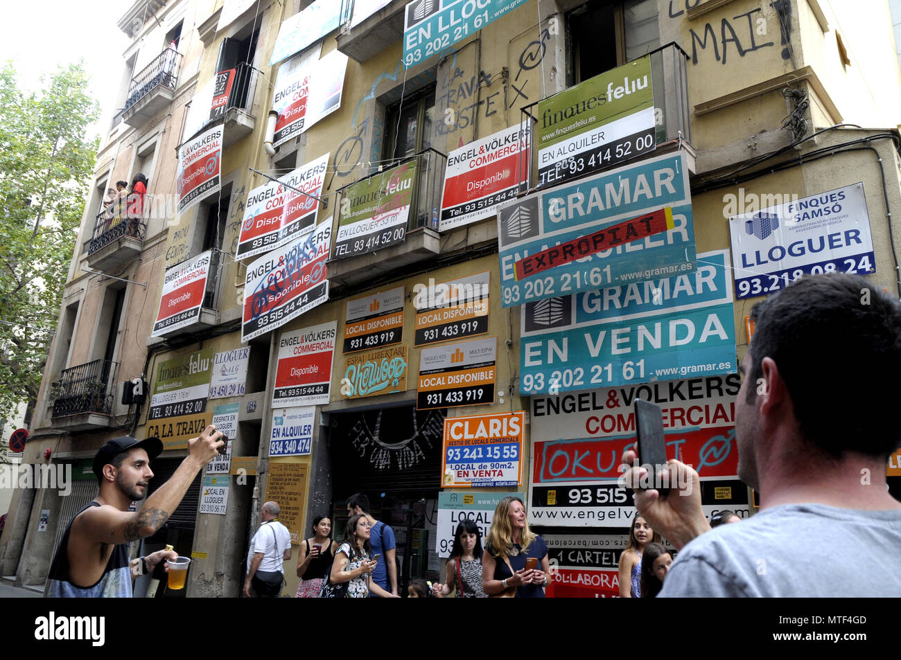 decoration against the rise in prices of rents and housing and in favor of occupation. BARCELONA,  GRACIA SUMMER FESTIVAL - Stock Image