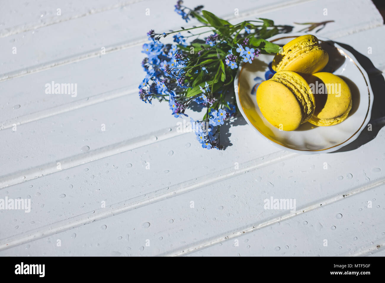 Macaroni tasty French dessert on white wooden table.macarons on vintage background. Macaron is sweet. Toned image. Copy space. tasty yellow French Macarons and forget-me-not flowers - Stock Image