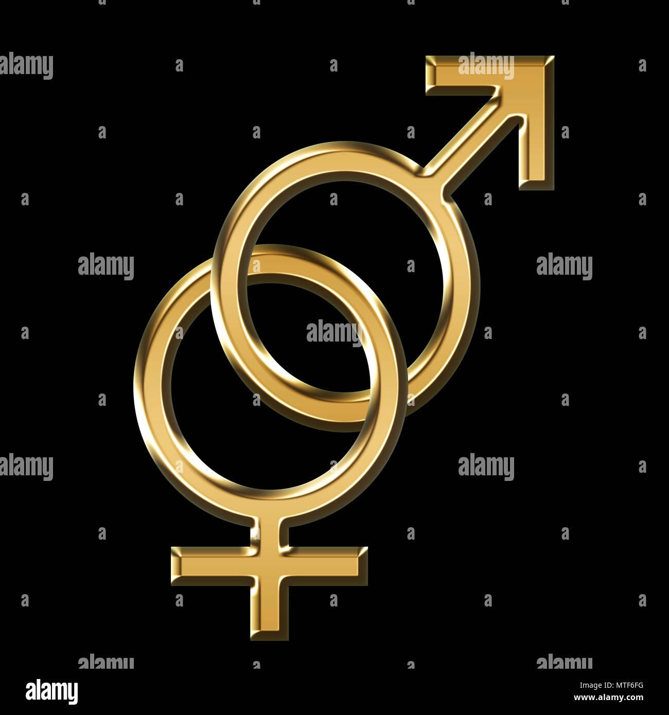 Gender Male And Female Symbol 3d Illustration Black Background