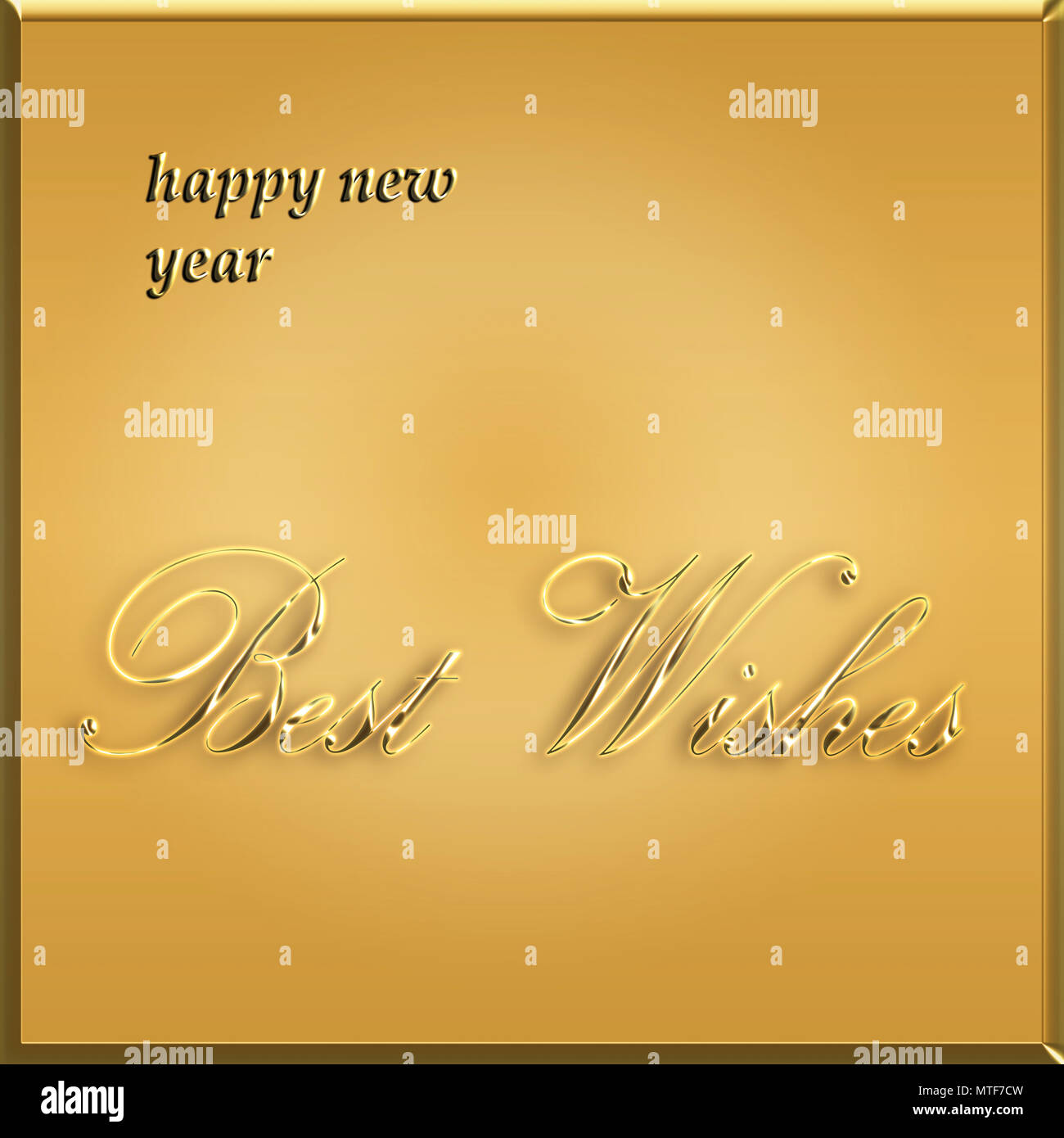 happy new year card best wishes golden card illustration