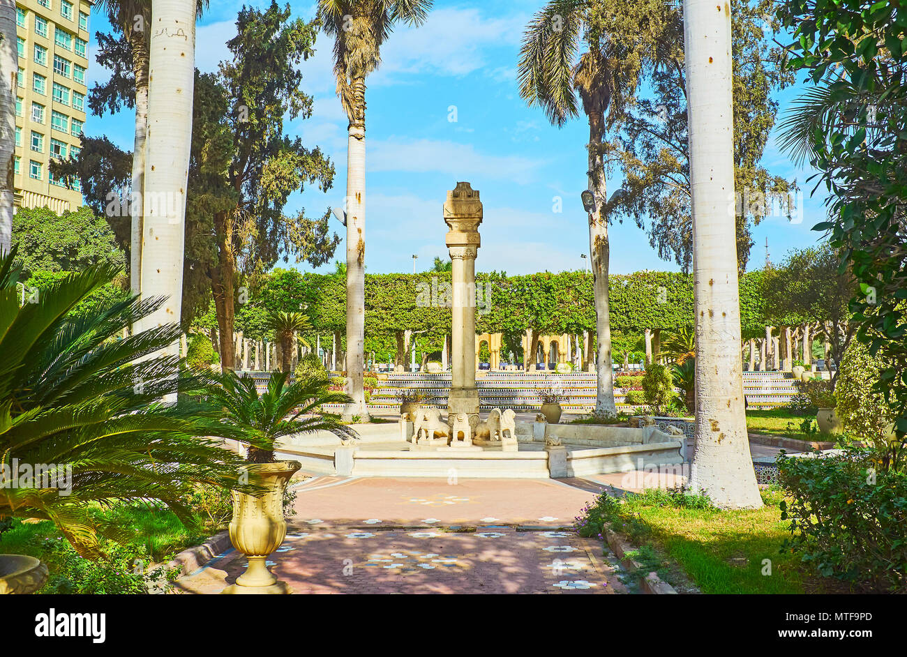 The scenic Al Andalus (Andalusian) garden with ornamental greenery, marble sculptures and statues and fine tilework located in Zamalek district on Gez - Stock Image