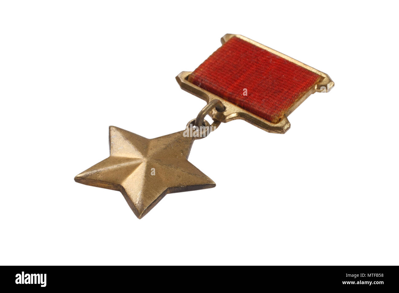 The Gold Star medal is a special insignia that identifies recipients of the title 'Hero' in the Soviet Union - Stock Image