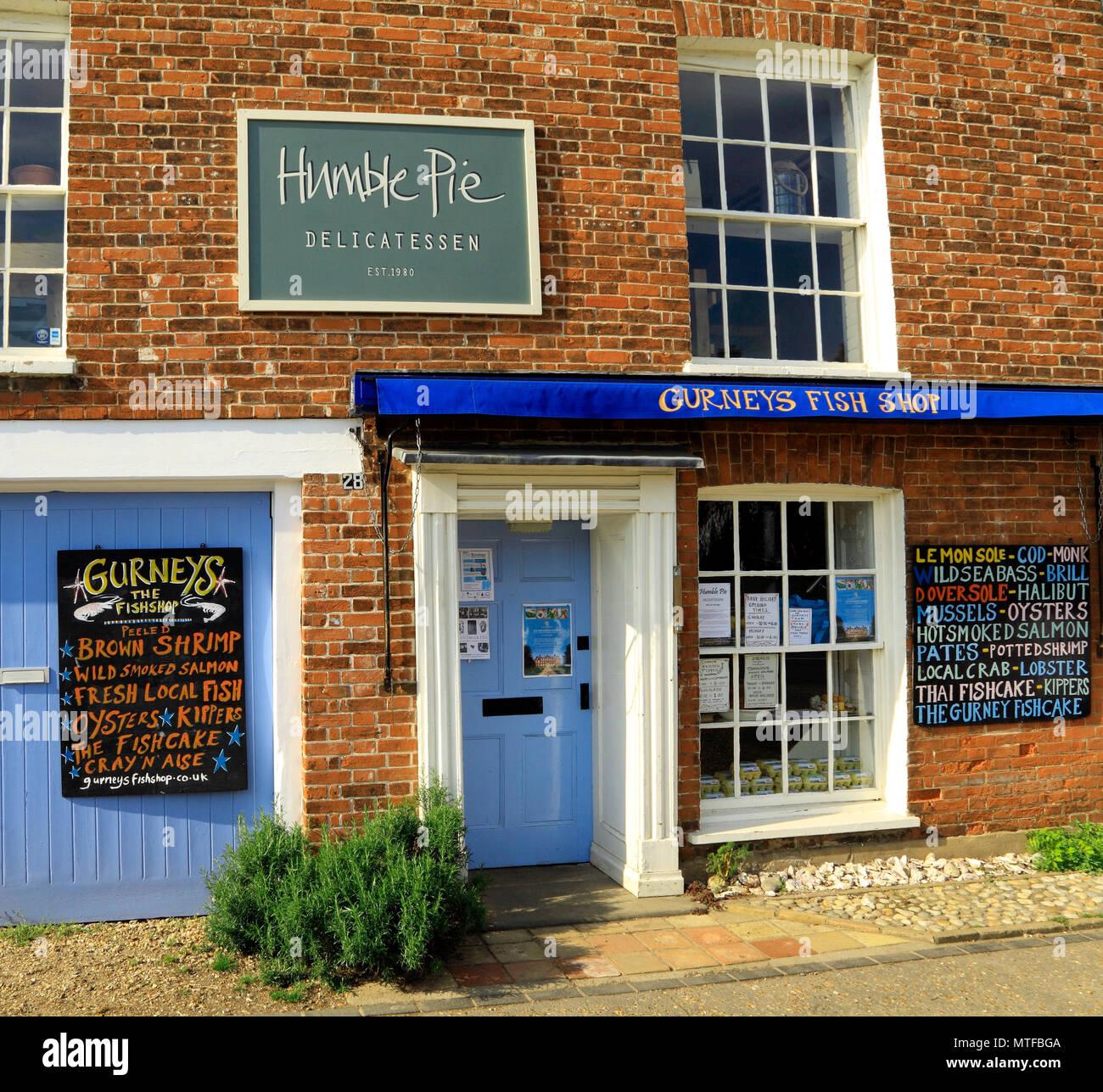 Burnham Market shops, Humble Pie, Gurneys Fish Shop, Norfolk, England, UK - Stock Image