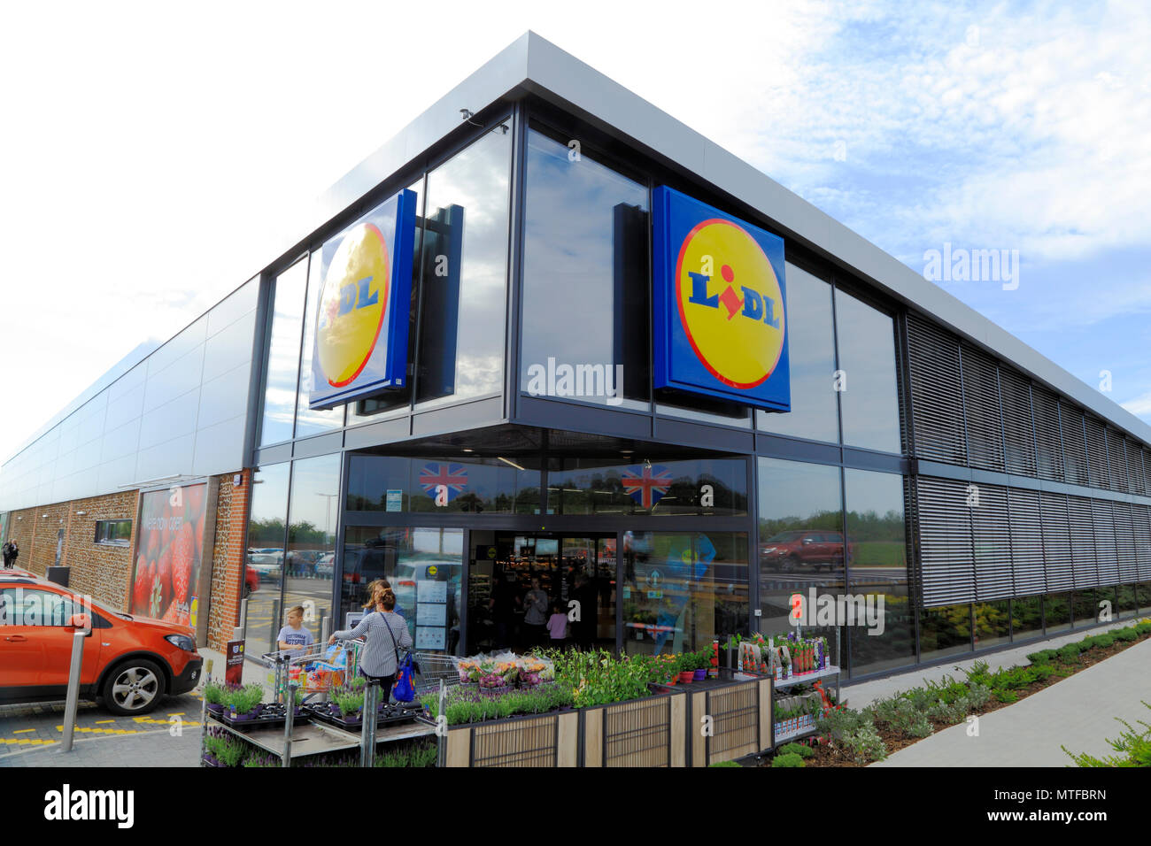 Lidl supermarket, Heacham, Norfolk, UK, opened,  May 2018 - Stock Image