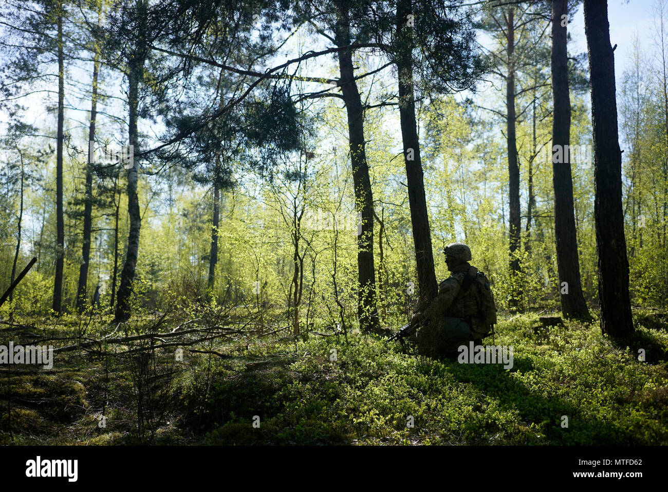A U.S. Soldier of Comanche Troop, 4th Squadron, 10th Cavalry Regiment, 3rd Armored Brigade Combat Team, 4th Infantry Division scans his sector of fire while conducting a live fire operation during Exercise Combined Resolve VIII at the Grafenwoehr Training Area, Germany April 24, 2017. Exercise Combined Resolve VIII is a multinational exercise designed to train the Army's Regionally Allocated Forces to the U.S. European Command. Combined Resolve VIII will include more than 3,400 participants from 10 nations. The goal of the exercise is to prepare forces in Europe to operate together to promote  - Stock Image