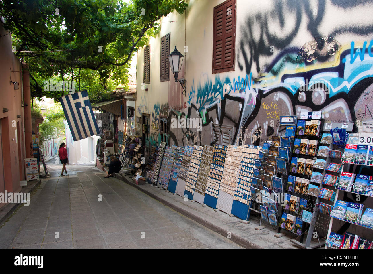 Souveniers for sale in the Plaka neighborhood of Athens, Greece - Stock Image
