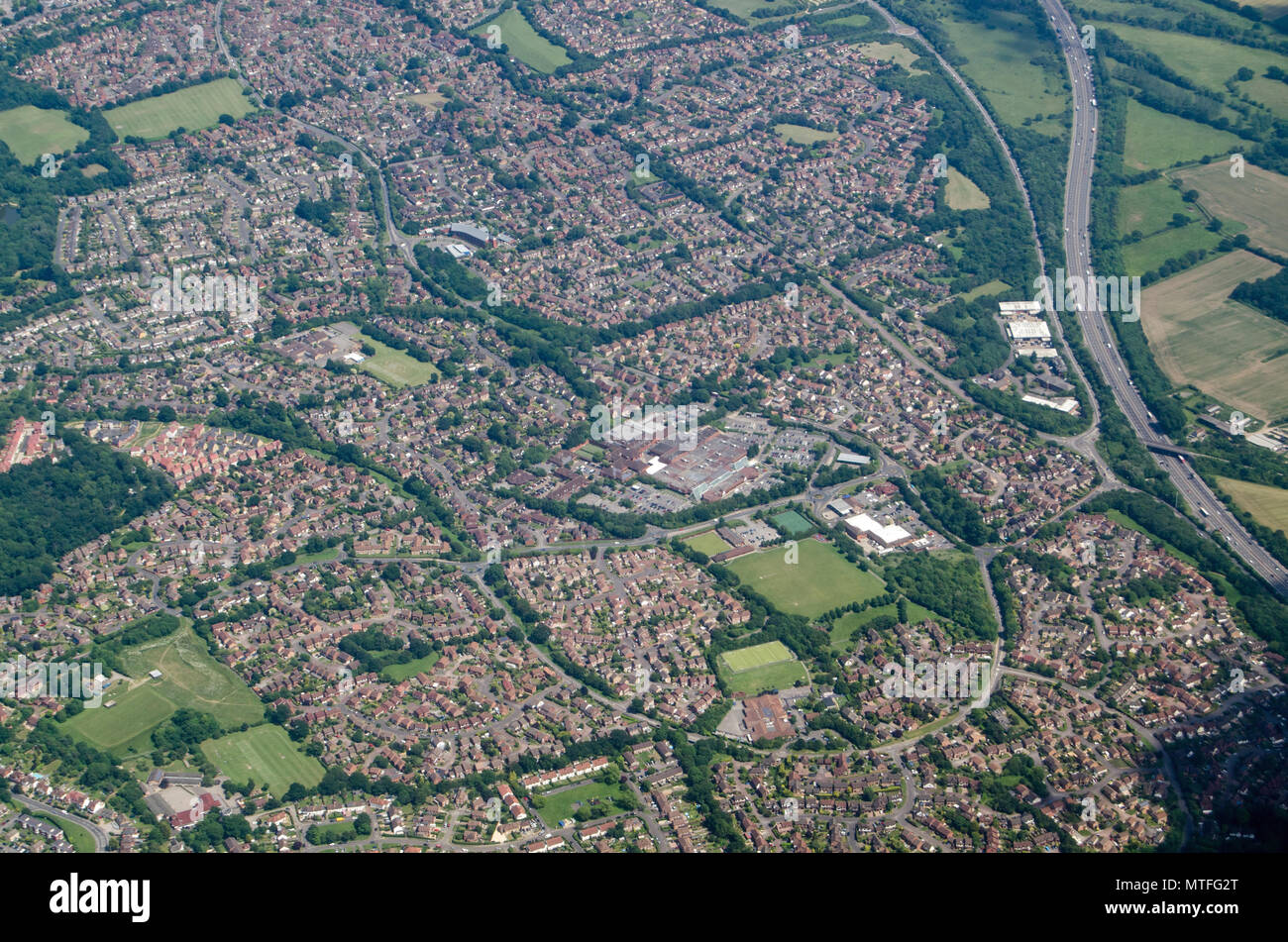 Aerial view of the housing estates of Lower Earley in Reading, Berkshire. Mostly built in recent decades, the housing provides homes for workers both  - Stock Image