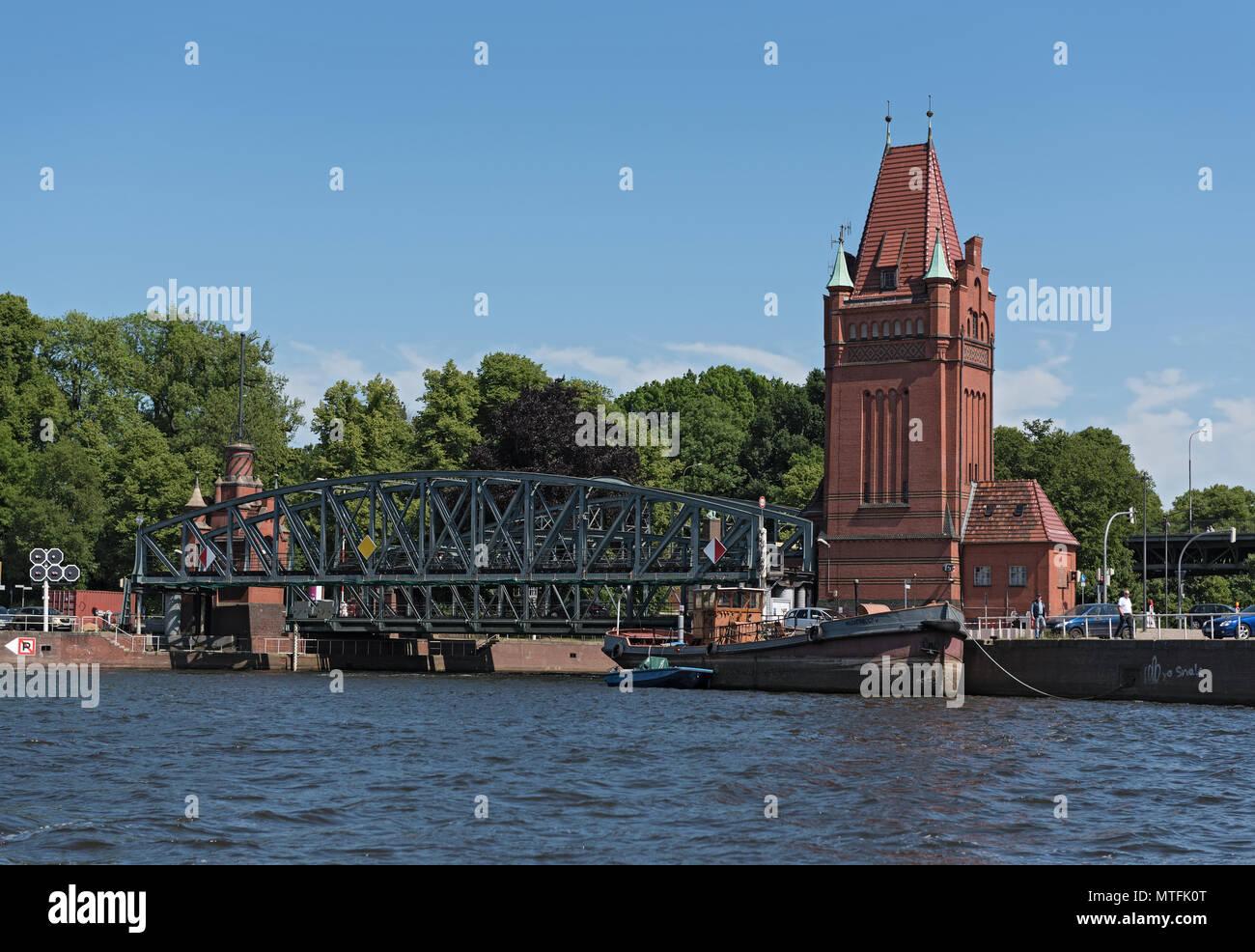View of the historic lift bridge (Marstallbrucke) in Lubeck, germany - Stock Image
