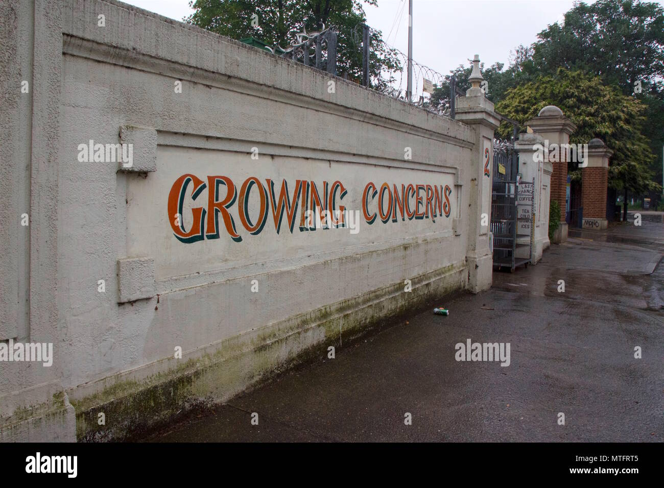 Outside sign for Growing Concerns, a garden centre in Bow, Wick Lane, Tower Hamlets, East London - Stock Image