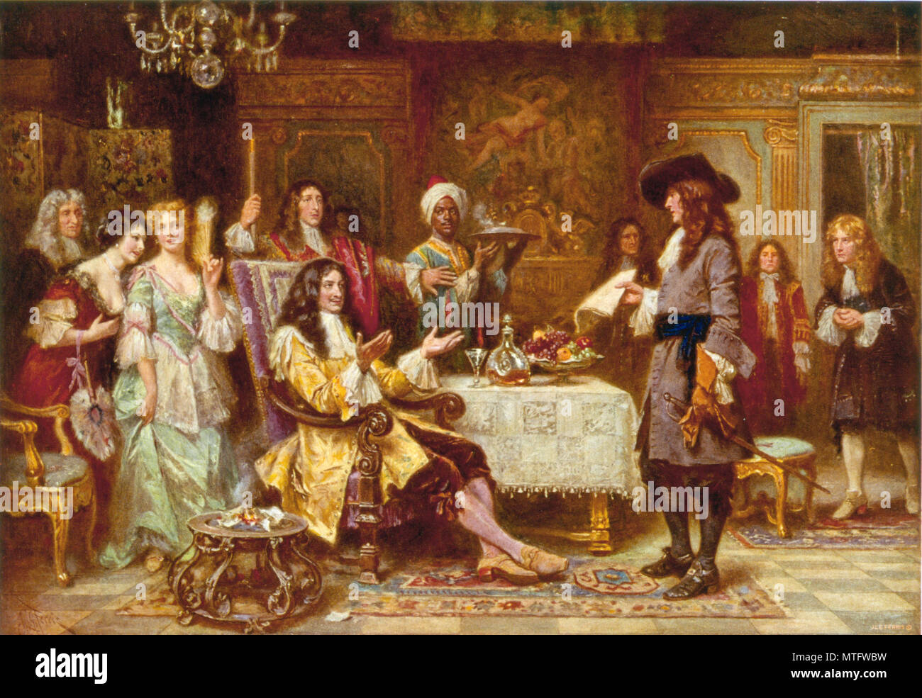 The Birth of Pennsylvania, 1680, by Jean Leon Gerome Ferris. William Penn, holding paper, standing and facing King Charles II, in the King's breakfast chamber at Whitehall. Stock Photo