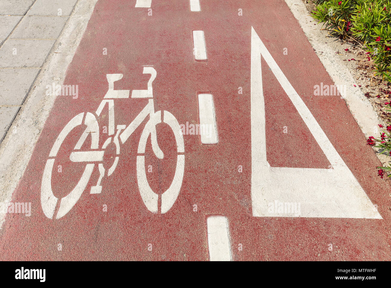 Bike lane. Bicycle sign and white directional arrow on red asphalt path Stock Photo