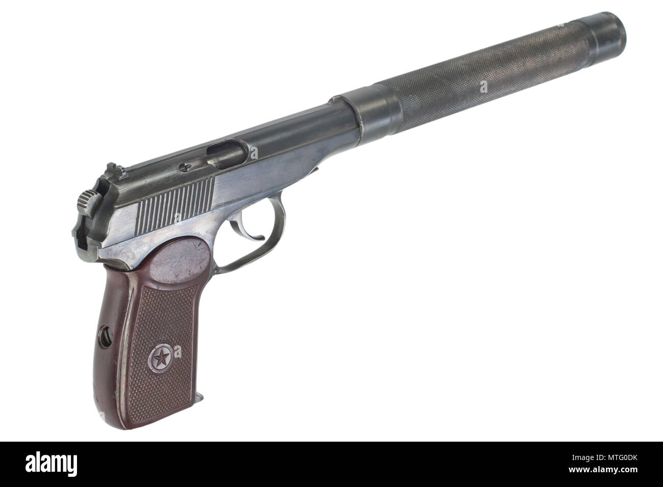 ussr makarov pistol with silencer isolated stock photo 187207039