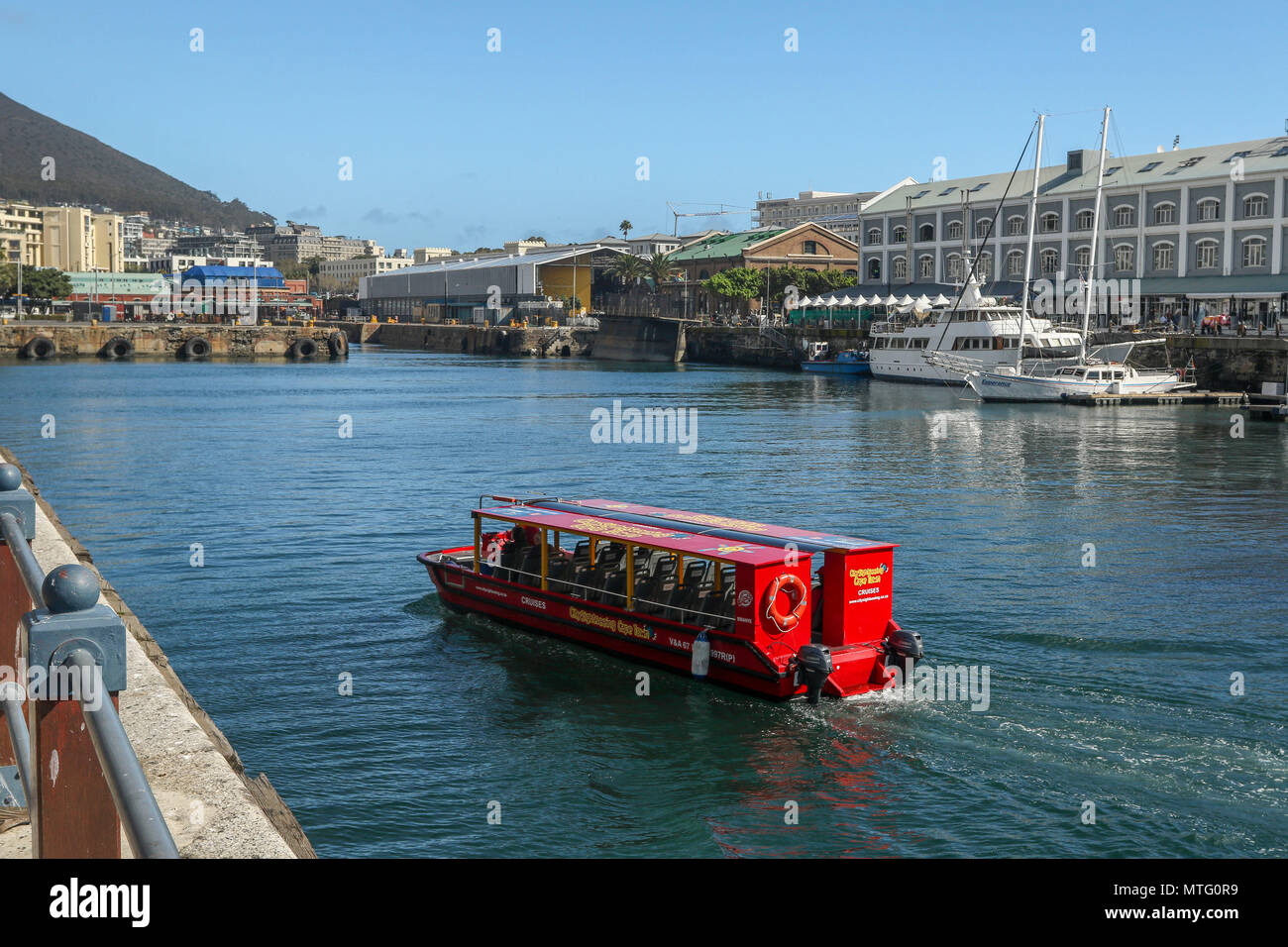 Pleasure boats in Capetown harbour on the garden route, south africa - Stock Image