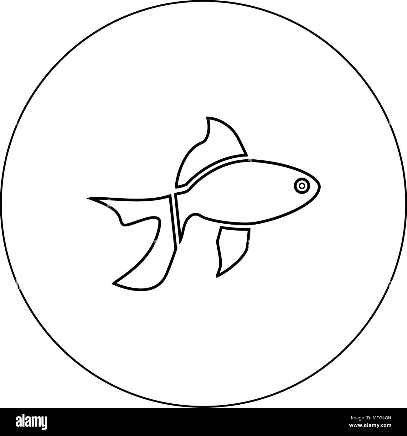 fish icon black color in circle vector illustration isolated outline stock image