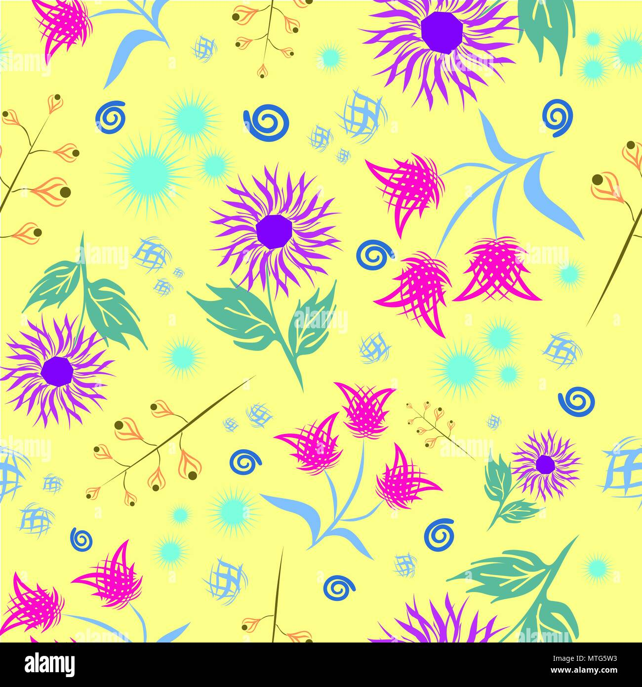 Seamless Floral Pattern Modern Abstract Bright Colorful Style