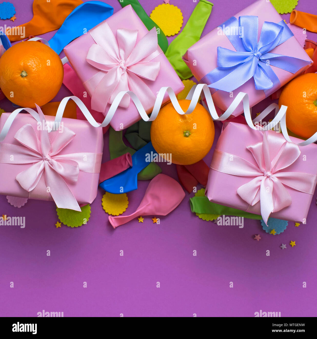Decorative Composition Four Boxes With Gifts Satin Ribbon Bow