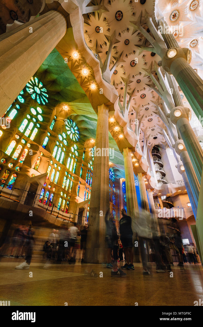 BARCELONA, SPAIN - April 25, 2018: La Sagrada Familia - decoration of impressive cathedral designed by Gaudi, which planed to be finished in 2026 - Stock Image