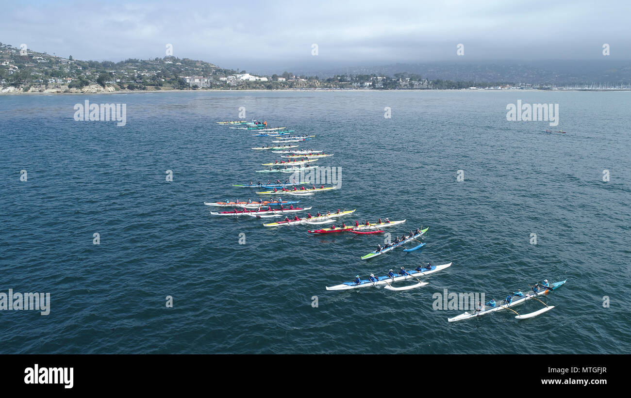 Outrigger Canoe teams competing in the Santa Barbara Rig Run 12 mile Championship race - Stock Image