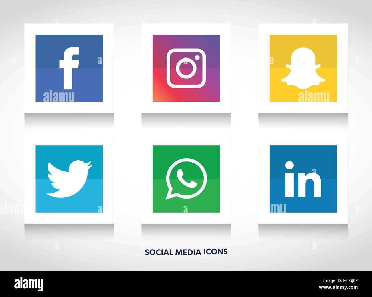 Vector Illustration Instagram: Social Media Icons Set. Logo Company Facebook, Instagram