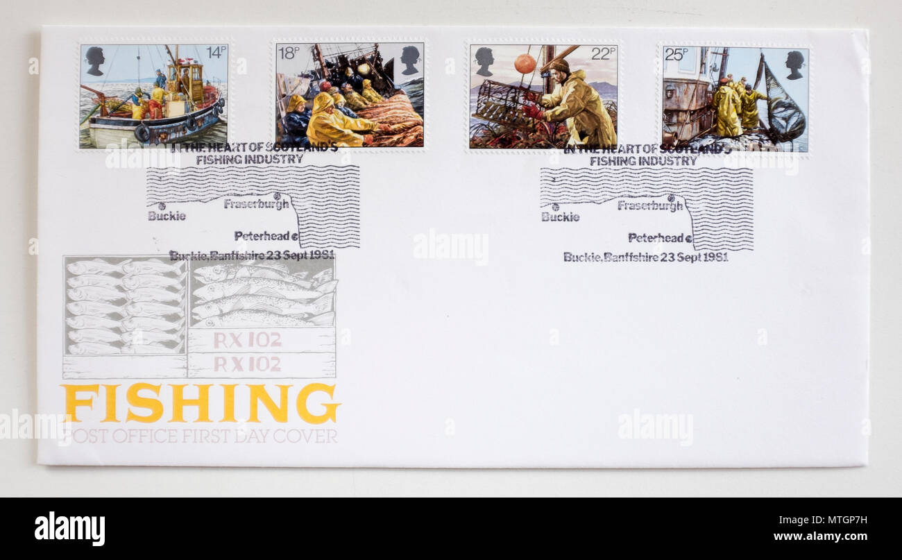 Vintage 1981 First Day GB Cover Stamp - Scottish Fishing Industry - Stock Image