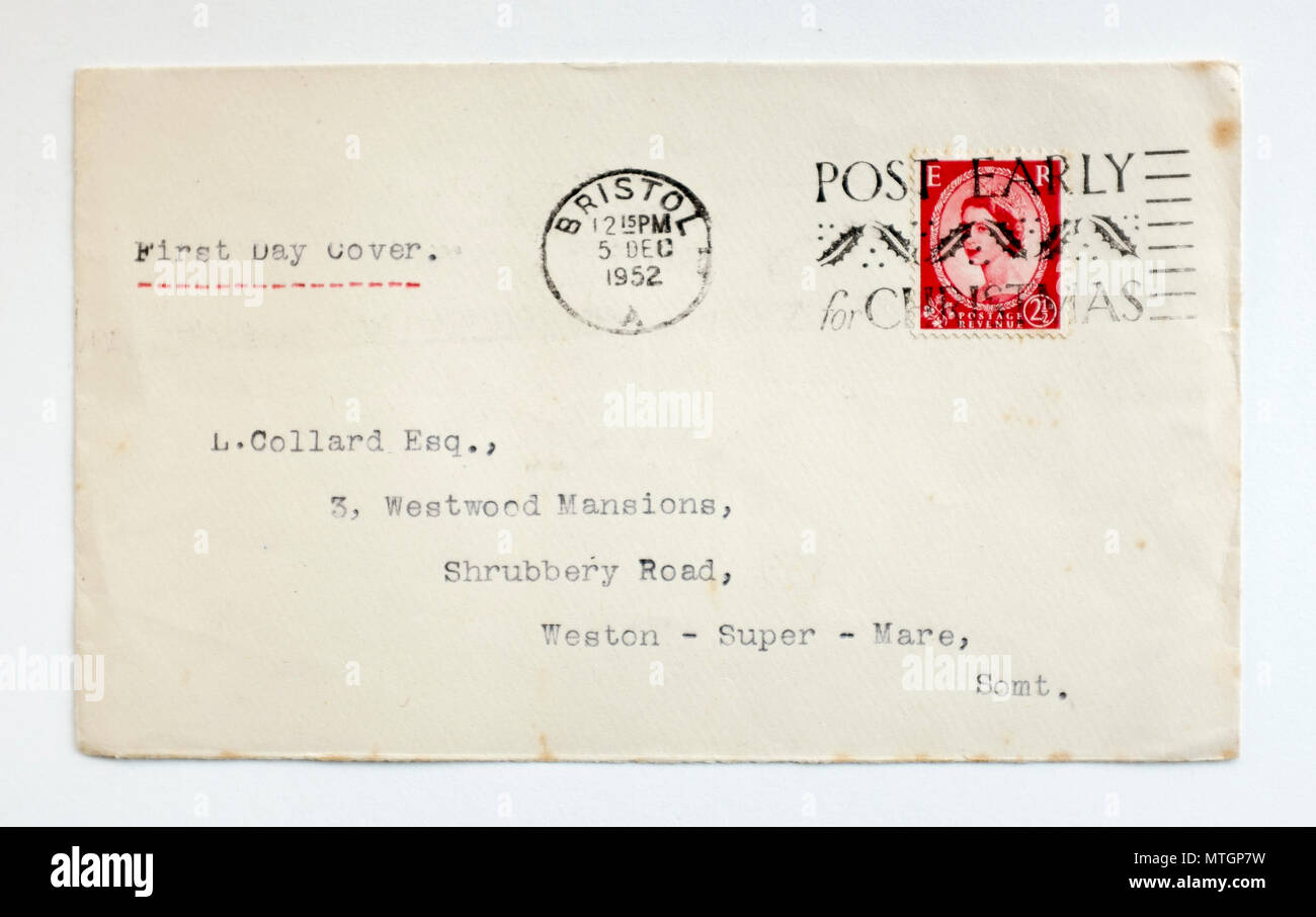 Vintage 1952 First Day GB Cover Stamp - Stock Image