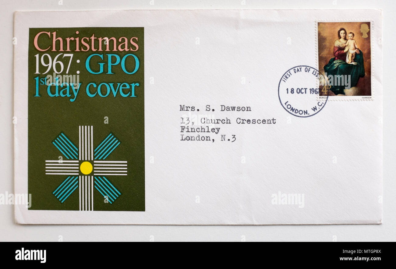Vintage 1967 First Day GB Cover Stamp Christmas - Stock Image