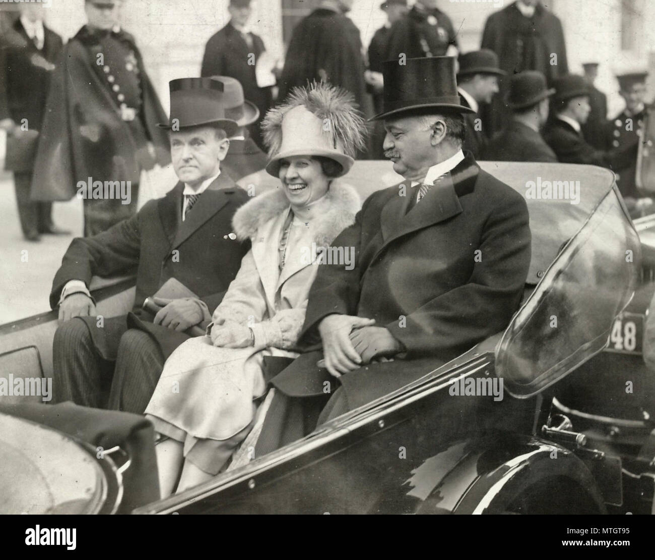 President Coolidge, Mrs. Coolidge and Senator Curtis on the way to the Capitol, March 1925 - Stock Image
