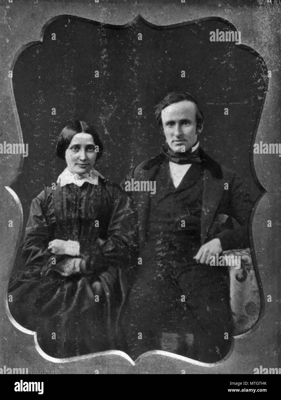 Rutherford and Lucy Hayes on their wedding day, 1852 - Stock Image