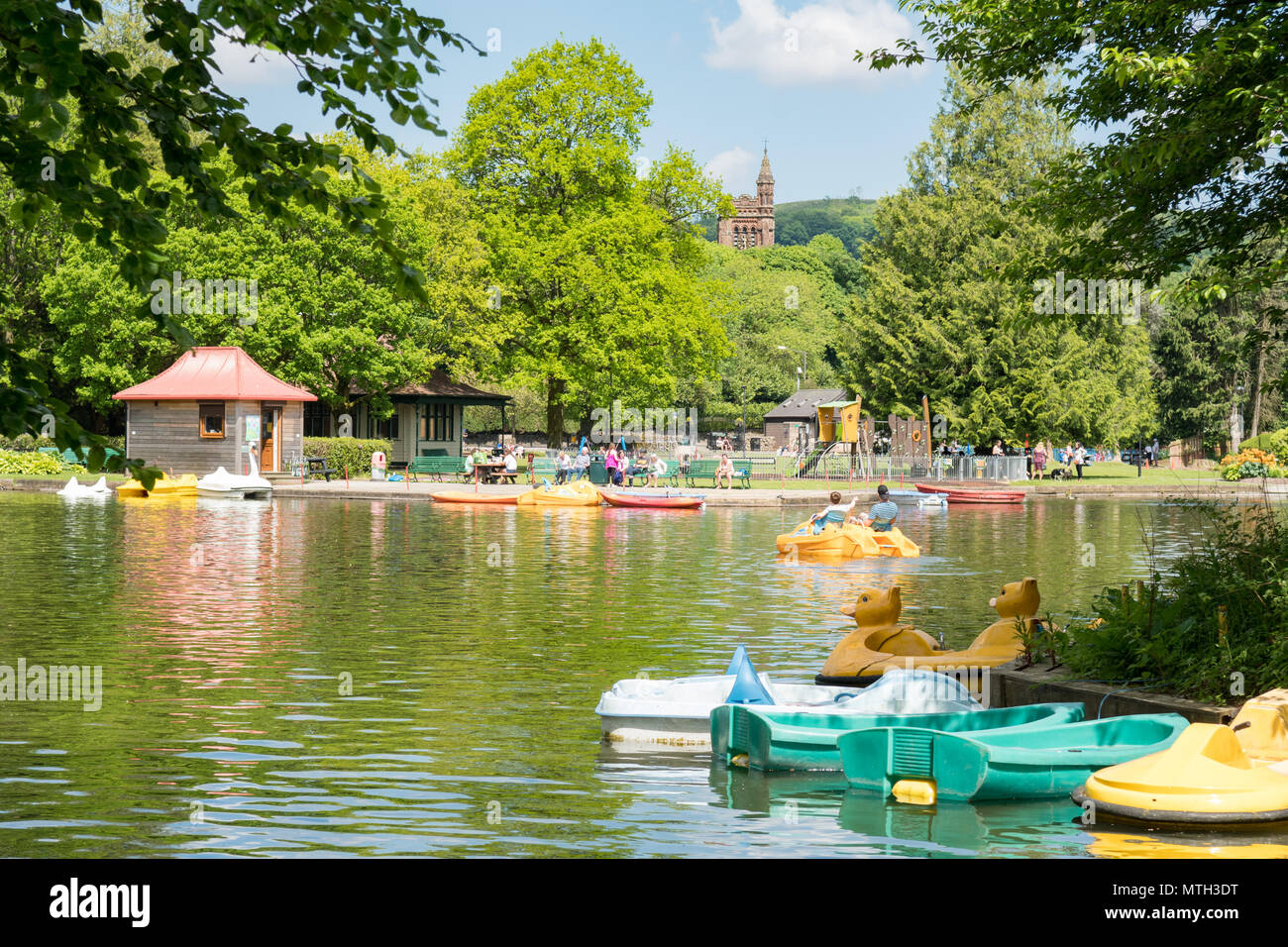 Moffat boating pond in Station Park, Moffat, Dumfries and Galloway, Scotland, UK - Stock Image