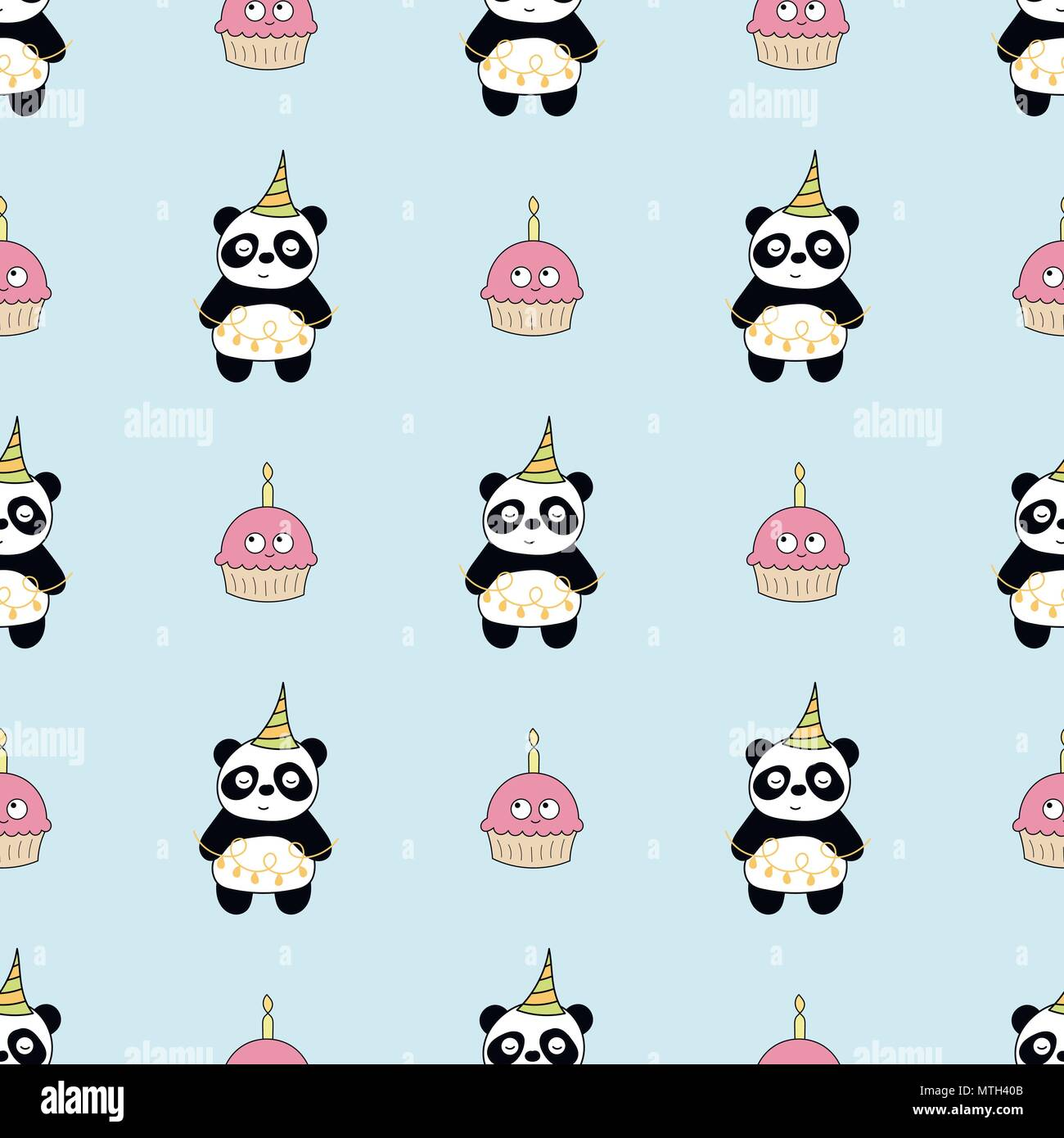 Seamless Baby Pattern With Cute Pandas And Cupcakes Stock Vector Art