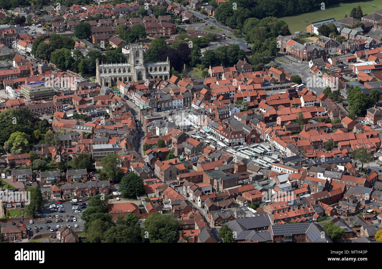 aerial view of Beverley town centre, market place & St Mary's church, East Yorkshire, UK Stock Photo