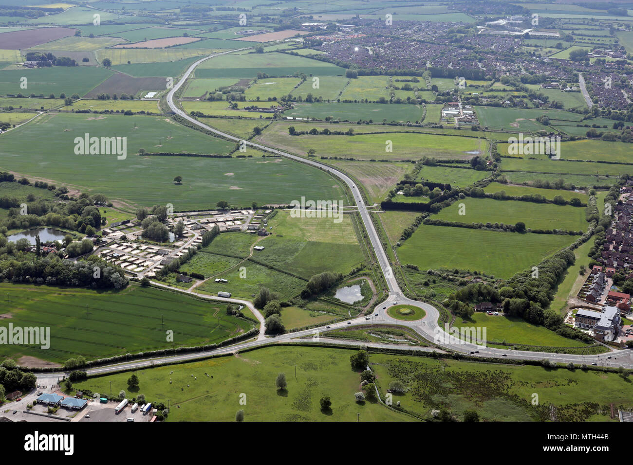 aerial view of the new Minster Way, Beverley Bypass, East Yorkshire - Stock Image