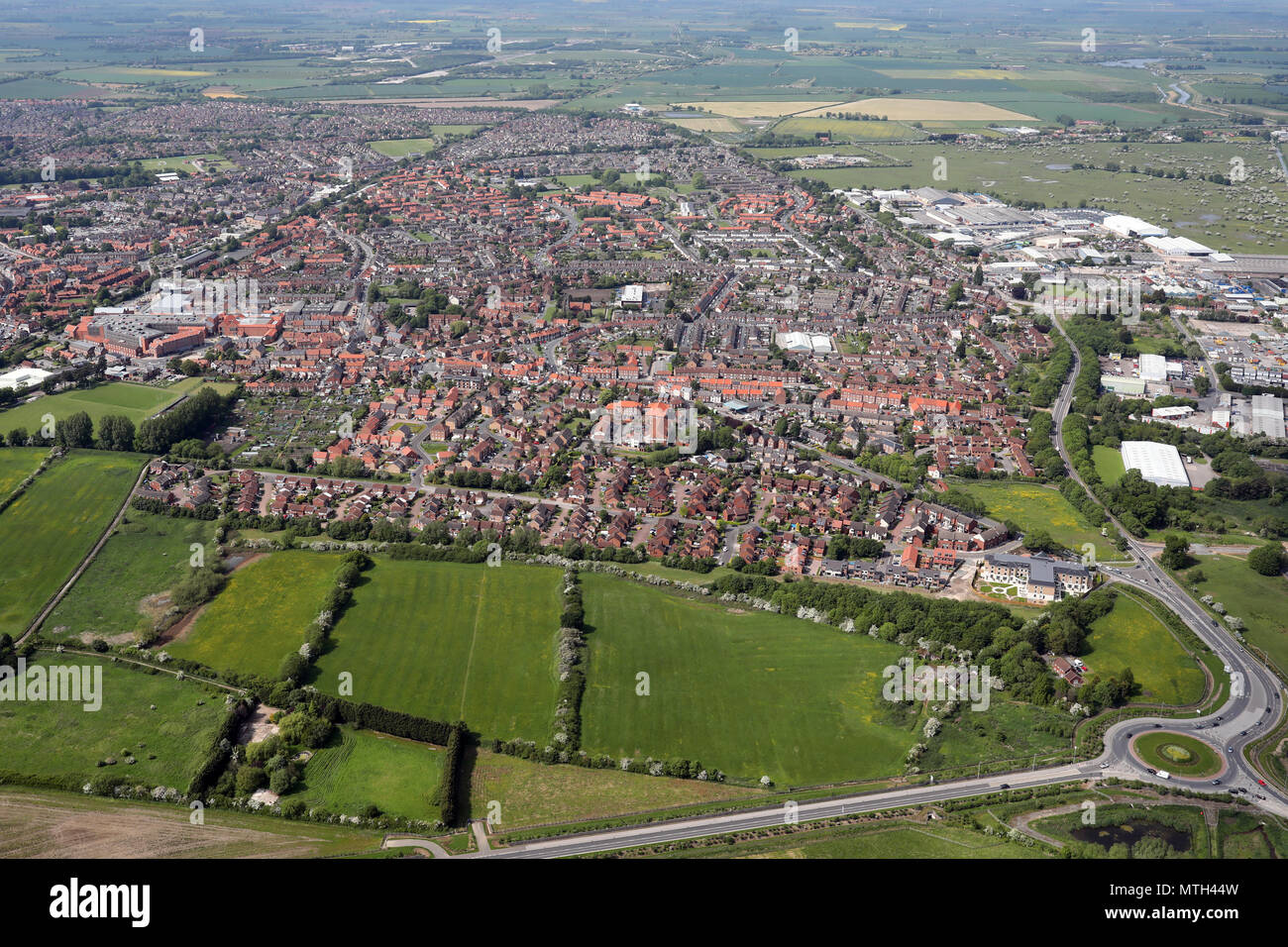aerial view of Beverley town centre, East Yorkshire, UK - Stock Image