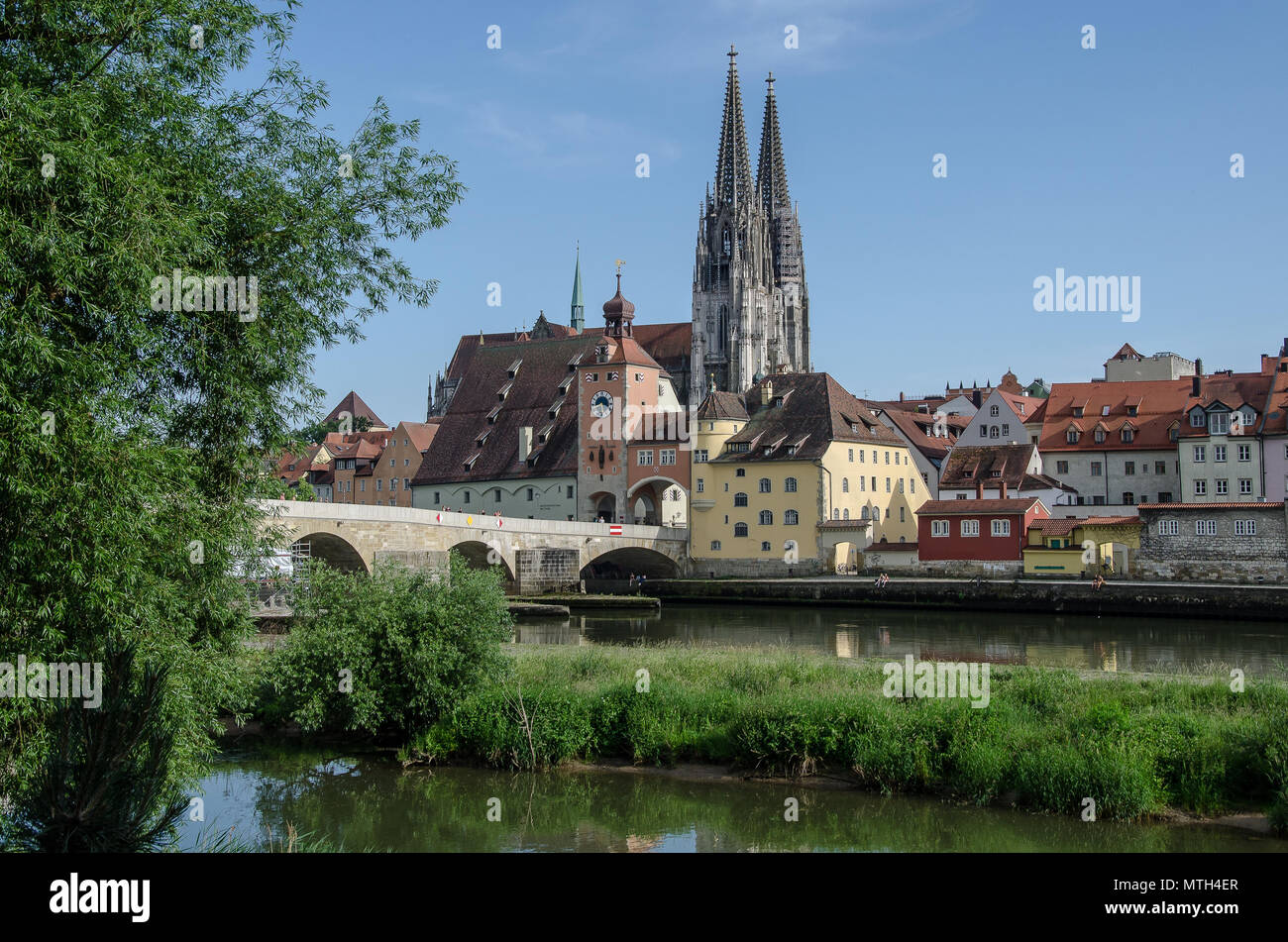 Regensburg is the best-preserved medieval city in Germany. Almost 1,000 monuments are located closely together in the city centre. - Stock Image