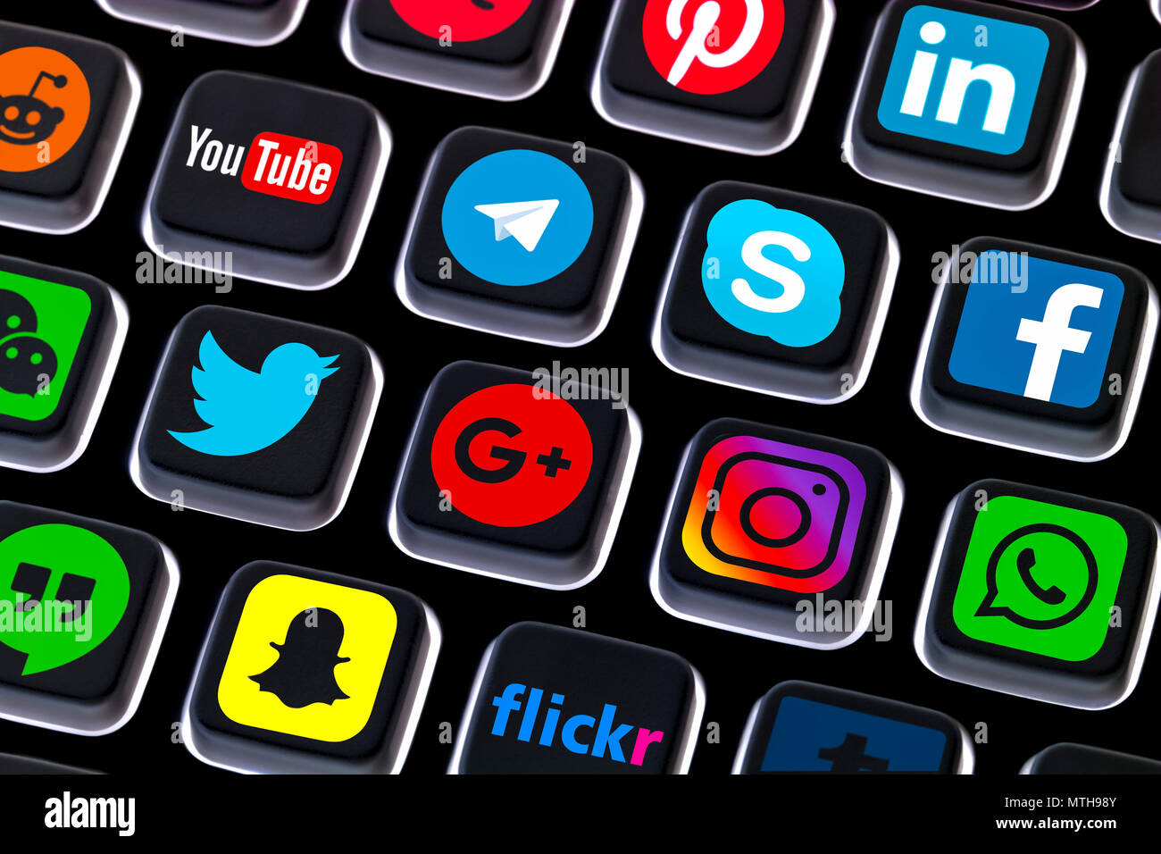 Social media icons on a computer keyboard. Social networking shortcuts. Social network services. Internet social media buttons. - Stock Image