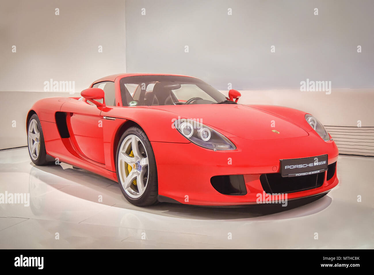 Stuttgart Germany April 7 2017 Red 2003 Porsche Carrera Gt In The Porsche Museum This Car Is The One Of The Most Valuable In The World Stock Photo Alamy
