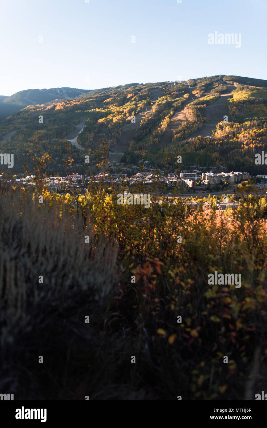 Sunrise over Vail Valley, Colorado during early Autumn. - Stock Image