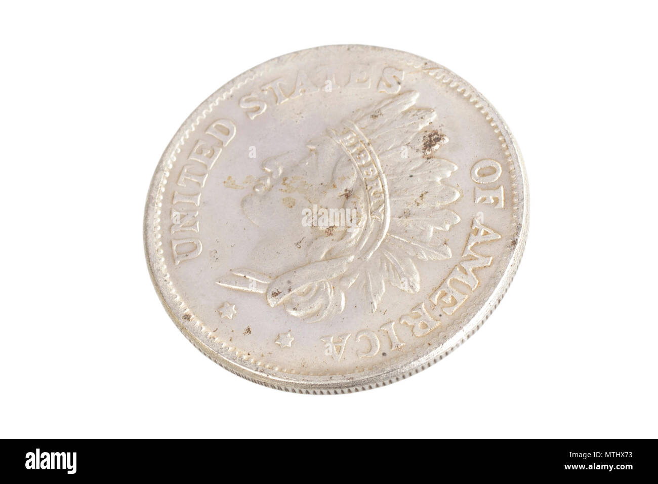 old vintage silver dollar isolated on background - Stock Image