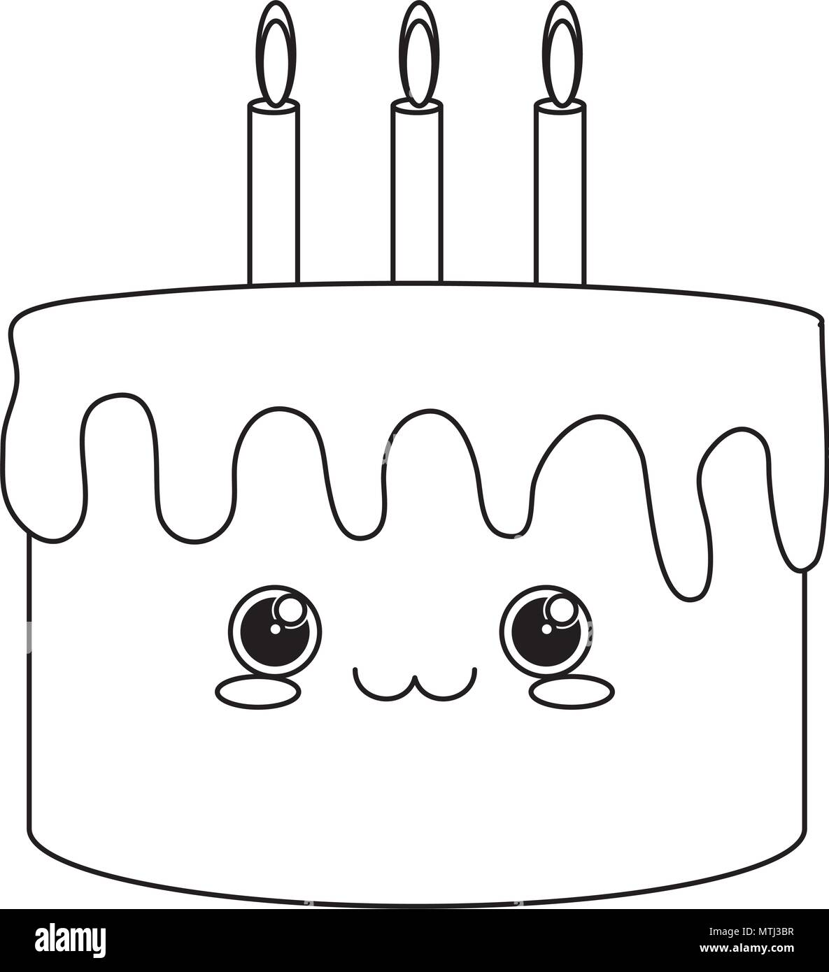 Kawaii Birthday Cake Icon Over White Background Vector Illustration