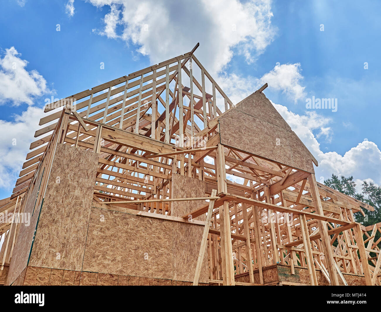Exterior of framed residential house under construction in a subdivision in Montgomery Alabama, USA. Stock Photo